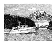 Marine Drawings Framed Prints - 85 Nordlund yacht passing Mt Rainier  Framed Print by Jack Pumphrey