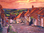 Evening Light Painting Prints - 850 Little Country Village England Print by David Lloyd Glover