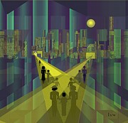 Luminescent Digital Art - 854 - Nightwalking  to a distant  city     by Irmgard Schoendorf Welch