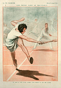 Tennis Drawings Posters - 1920s France La Vie Parisienne Magazine Poster by The Advertising Archives