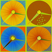 Rain Digital Art - 880 - rain and shine Clocks  by Irmgard Schoendorf Welch