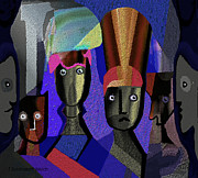 Heads Digital Art Prints - 883 -  Royal heads  surreal portraits Print by Irmgard Schoendorf Welch