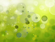 Green Prints - Abstract background Print by Les Cunliffe