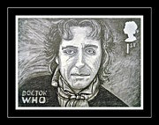 4th Drawings Framed Prints - 8th Doctor Paul McGann Framed Print by Jenny Campbell Brewer