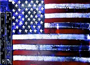 Star Spangled Banner Painting Metal Prints - 9-11 Flag Metal Print by Richard Sean Manning