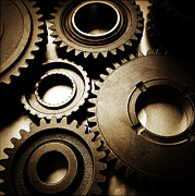 Industrial Metal Prints - Cogs Metal Print by Les Cunliffe
