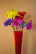 Multicolored Daisy Prints - Daisies in a vase on shelf Print by Jim Corwin
