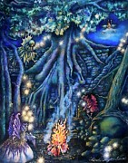Fantasy Tree Art Paintings - Flutter Flies by Linda Simon