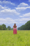Red Skirt Posters - Girl On Meadow Poster by Joana Kruse
