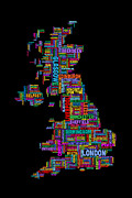 Featured Art - Great Britain UK City Text Map by Michael Tompsett