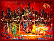 Fall Panorama Paintings - Manhattan by Mark Kazav