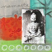 Blue-green Posters - Namaste Poster by Linda Woods