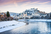 Salzburg Posters - Salzburg in winter Poster by JR Photography