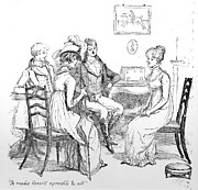 Conversing Drawings Metal Prints - Scene from Pride and Prejudice by Jane Austen Metal Print by Hugh Thomson