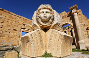 Gorgon Photo Prints - Sculpted Medusa head at the Forum of Severus at Leptis Magna in Libya Print by Robert Preston