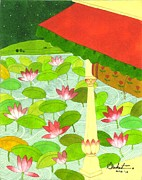 Miniatures Art - Water lilies by Saket Mehendale