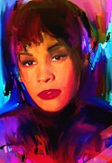 Top Model Framed Prints - Whitney Houston Framed Print by Bogdan Floridana Oana