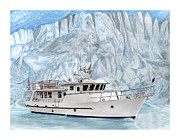 Cruising Paintings - 90 Foot World Cruising Yacht by Jack Pumphrey