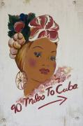 Female Likeness Posters - 90 Miles To Cuba Sign Key West, Florida Poster by Chris Parker