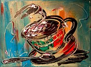 Women Soccer Paintings - Coffee by Mark Kazav