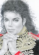 Metal Prints Drawings - Michael Jackson by Eliza Lo