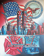 Fire Paintings - 911-God Bless America by Scott Dokey
