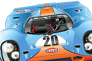 Automotive Illustration Posters - 917 Gulf Poster by Alain Jamar