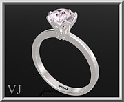 Romantic Rose Jewelry - 925 Sterling Silver Flower Engagement Ring With Rose Quartz by Roi Avidar