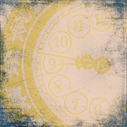 Clock Hands Prints - 945 Grunge Clock Print by Brandi Fitzgerald