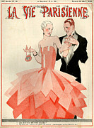 Dresses Drawings Posters - 1920s France La Vie Parisienne Magazine Poster by The Advertising Archives