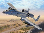 Aircraft Art Framed Prints - A-10 Over Baghdad Framed Print by Stu Shepherd