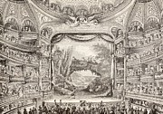 Balconies Framed Prints - A 1789 Performance in the Theatre des Varietes Amusantes Framed Print by French School