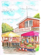 Barn Drawings Posters - A and F Country Market in Oxnard-CA Poster by Carlos G Groppa