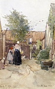 1907 Painting Prints - A Back Garden Berck sur Mer Print by Patty Townsend Johnson