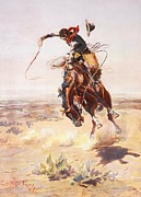 Bronc Framed Prints - A Bad Hoss Framed Print by Charles Russell