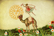 Ballerinas Posters - A Ballerina and Her Camel Poster by Peggy Collins