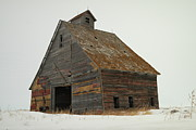 Wooden Barns Posters - A Barn Near Wild Rose North Dakota Poster by Jeff  Swan