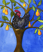 A Barred Rock In A Pear Tree Print by Kerrie  Hubbard