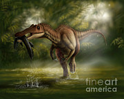 Food Chain Digital Art Posters - A Baryonyx Dinosaur Catches A Fishin Poster by Yuriy Priymak