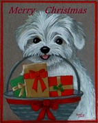 Christmas Card Pastels Posters - A Basket Of Wishes For You Poster by Pat Neely