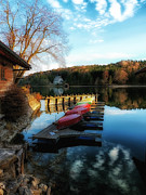 Lakeside Cabin Posters - A Bavarian Autumn Poster by Mountain Dreams
