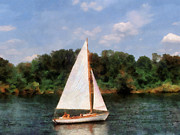 Sailboat Metal Prints - A Beautiful Day For a Sail Metal Print by Susan Savad