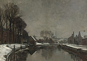 Snow-covered Landscape Painting Framed Prints - A Belgian Town in Winter Framed Print by Albert Baertsoen