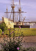 Park Benches Photos - A Bench View of Mayflower II by Janice Drew