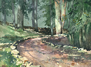 Gravel Road Paintings - A Bend In The Road by Spencer Meagher