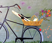 Baguettes Posters - A Bicycle Break Poster by Brenda Brown