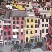 Coast Paintings - A Birds Eye View of Cinque Terre by Quin Sweetman