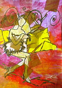 Yellow Line Mixed Media Prints - A Bit of Whimsy Print by Debi Pople