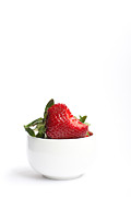 Strawberry Art Metal Prints - A Bite Of Strawberry Metal Print by Constance Fein Harding