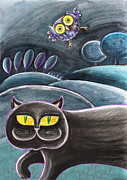 Cat Story Originals - A Black Cat And A Owl by Raffaella Di Vaio